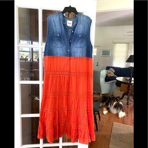 Upcycled Denim Crochet Shirt & Orange Flowy Skirt